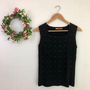 Belldini Rhinestone Knit Top in Black